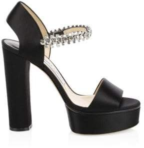 Jimmy Choo Santina Glitter Strap Satin Platform Heels