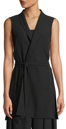 Eileen Fisher High-Collar Belted Long Silk Vest, Plus Size