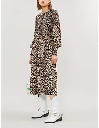 Ganni Black and Brown All-Over Leopard Print Mullin Georgette Dress