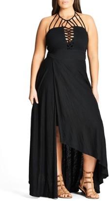 Plus Size Women's City Chic Strappy Asymmetrical Faux Wrap Halter Maxi Dress $99 thestylecure.com