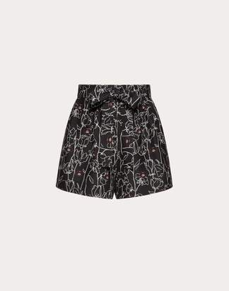 Valentino Undercover Print Crepe Couture Shorts Women Black Virgin Wool 65%, Silk 35% 38