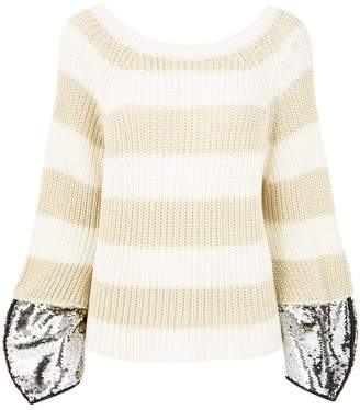 Nude sequin embellished striped sweater