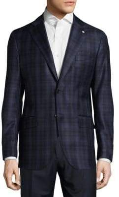 Lubiam Regular Fit Plaid Wool Sportcoat