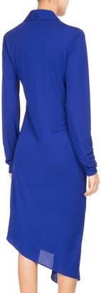 Neiman Marcus Atlein Ruched Jersey Asymmetric Midi Dress