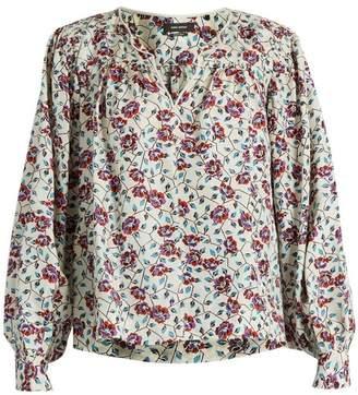 Isabel Marant Ryton Floral Print Silk Habotai Top - Womens - Beige Print