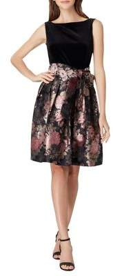 Tahari Arthur S. Levine Floral Contrast Self-Tie Dress