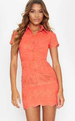 PrettyLittleThing Coral Embroidered Lace Button Detail Shift Dress