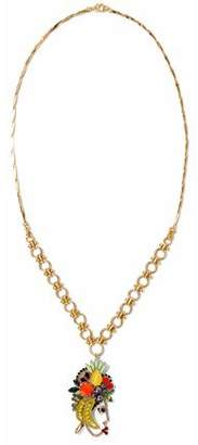 Elizabeth Cole 24-Karat Gold-Plated Swarovski Crystal Faux Pearl And Stone Necklace