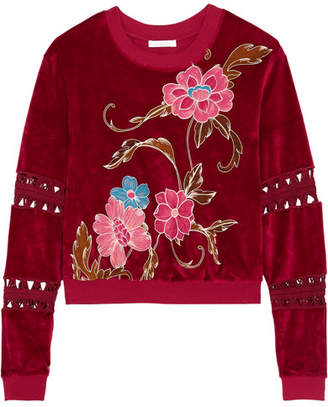 Cropped Printed Cotton-blend Velvet Sweatshirt - Brick