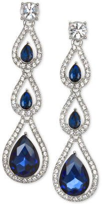 Badgley Mischka Silver-Tone Crystal Linear Drop Earrings