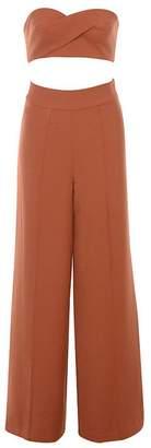 Whoinshop High Waist Wide Leg Two Pieces Bustier Trousers Set Party Pants (M, )