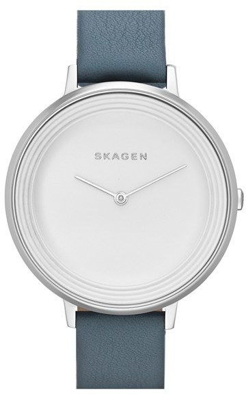 Skagen 'Gitte' Round Slim Leather Strap Watch, 38mm