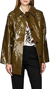 KASSL Women's Lacquered Cotton-Blend Trench Coat - Olive