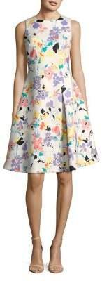 Calvin Klein Floral Seamed Fit-&-Flare Dress