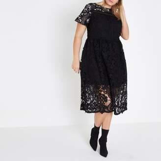 River Island Plus black lace trim A line midi dress