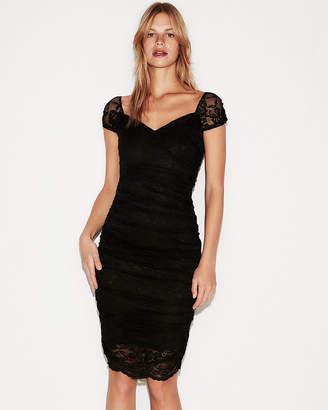 Express Petite Ruched Lace Sheath Dress