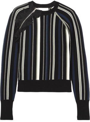 3.1 Phillip Lim - Ruffle-trimmed Striped Stretch Cotton-blend Sweater - Black $495 thestylecure.com