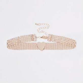 River Island Girls rose gold heart choker necklace