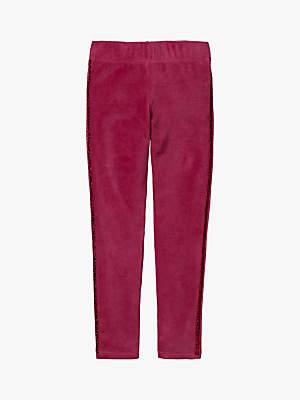 Boden Mini Girls' Glitter Side Stripe Velvet Leggings, Bramble Red