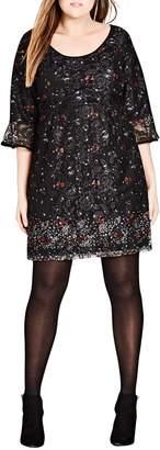 City Chic Floral Fields Scoop Neck Lace Dress