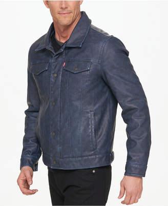 Levi's Men Faux-Leather Trucker Jacket