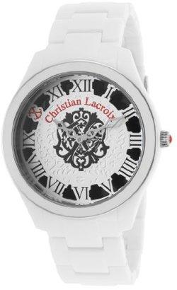 Christian Lacroix (クリスチャン ラクロワ) - Christian Lacroixレディースホワイト酢酸ホワイト&ブラックダイヤル腕時計