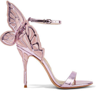 Sophia Webster Chiara Embroidered Metallic Leather Sandals - Lavender