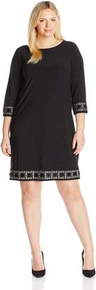 Tiana B Women's Plus-Size 3/4 Sleeve Embellished Cuff and Trim Dress