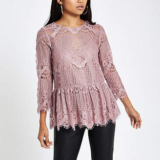 River Island Petite pink lace swing top