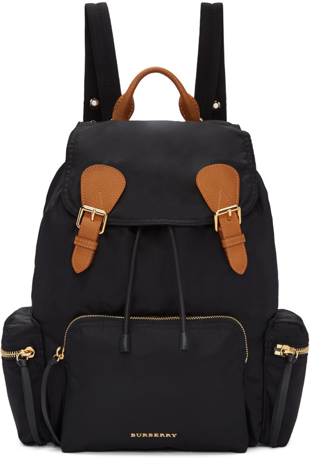 burberry silk scarf outlet g2qx  Burberry Black Nylon Backpack