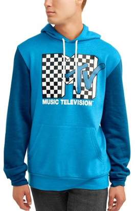 Music MTV Men's Licensce Color Block Long Sleeve Graphic Hoodie
