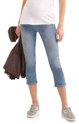 Oh! Mamma Maternity Full Panel Cuffed Hem Denim Capri Jeans with Embroidered Back Pockets--Available in Plus Size