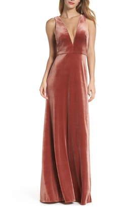 Jenny Yoo Logan Plunging V-Neck Velvet Gown