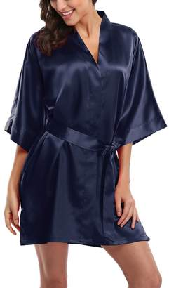Laurèl Snow Women's Short Satin Kimono Robes Pure Color Sleepwear Bathrobe for Wedding Party