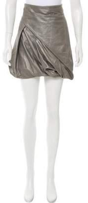 AllSaints Metallic Leather Skirt