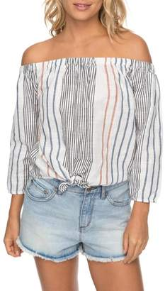 Roxy Crossing Stripes Of the Shoulder Top