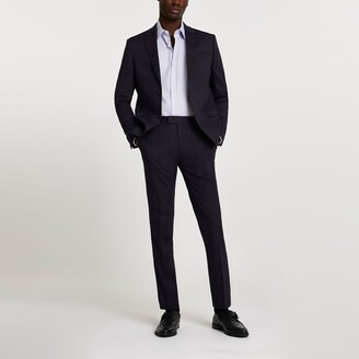 Mens Navy stretch skinny suit trousers