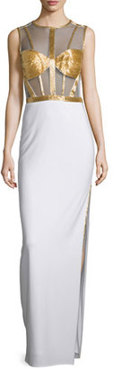 Mignon Sleeveless Beaded-Bodice Column Gown, Ivory/Gold $478 thestylecure.com