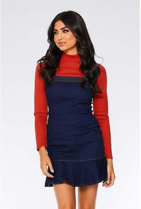 Quiz Dark Blue Denim Frill Zip Back Dress