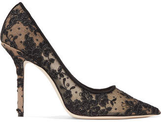 Jimmy Choo Love 100 Swiss-dot Tulle And Corded Lace Pumps