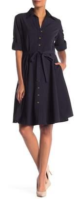 Sharagano 3\u002F4 Sleeve Shirt Dress