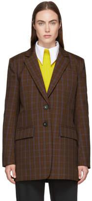 Tibi Brown Menswear Check Oversized Blazer