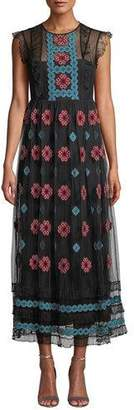 RED Valentino Cross-Stick Cap-Sleeve Embroidered Point d'Esprit Tulle Dress