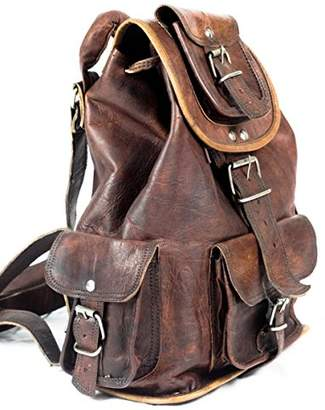 "Touch of Leather Large 19"" Genuine Leather Rucksack Backpack Hiking Travel Picnic Laptop Everyday Backpack School Drawstring Women Rucksack Great Gift Sale!"