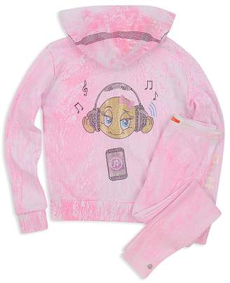 Butter Shoes Girls' Embellished Crackle Emoji Hoodie - Little Kid