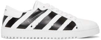 Off-White White and Black Diagonal Spray Sneakers