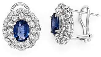 Bloomingdale's Diamond Halo and Blue Sapphire Earrings in 14K White Gold - 100% Exclusive