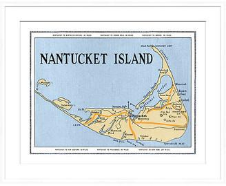 Soicher Marin Nantucket Map in White Frame Art
