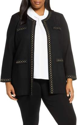 Ming Wang Studded Trim Knit Jacket