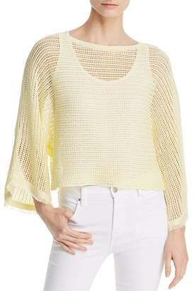 Eileen Fisher Fringed Cuff Organic Linen Mesh Sweater